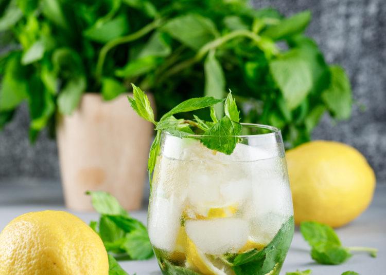 Limón, pepino y hierbabuena