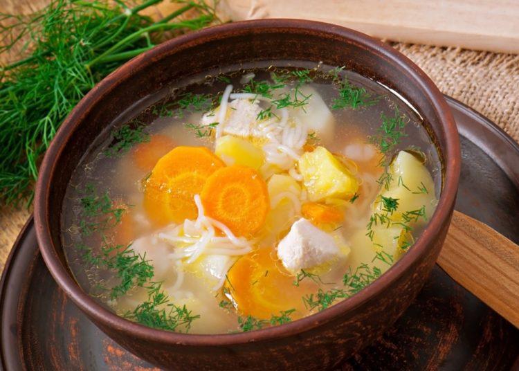 Sopa de pollo, verduras y fideos
